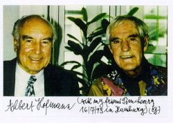 Photo of Dr. Albert Hofmann and Dr. Timothy Leary